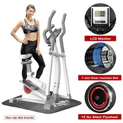 Elevtab Elliptical Machine Trainer – Adjustable 8 Levels Resistance and Seats, with Digita ...
