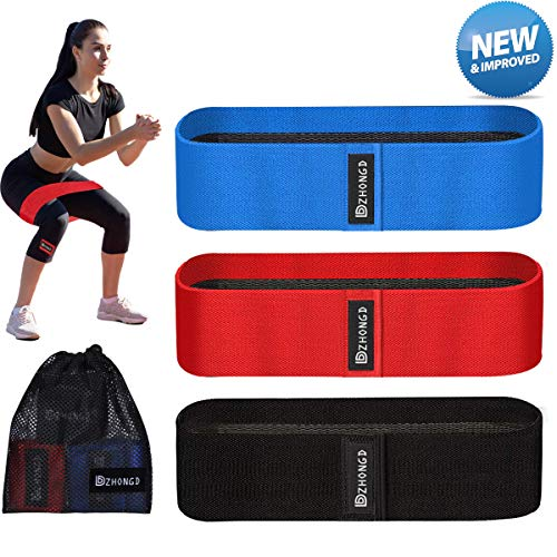 DZHONGD Resistance Bands for Legs Butt, Fabric Non-Slip Non-Rolling Loop Hip Booty Glutes Workou ...