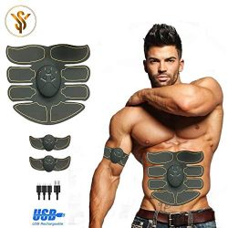 Abs Stimulator for Men and Women-muscle stimulator with 10 Gel Pads -Rechargeable Muscle Trainer ...