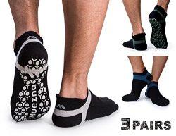 Muezna Men's Non-Slip Yoga Socks, Anti-Skid Pilates, Barre, Bikram Fitness Hospital Slippe ...