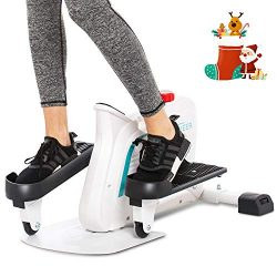ANCHEER Mini Elliptical Machine Trainer, Various Adjustable Resistance Compact Strider with Buil ...