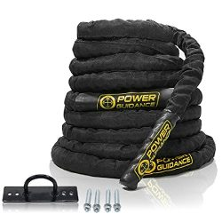 POWER GUIDANCE Battle Rope, 1.5″ Width Poly Dacron 30/40/50ft Length Exercise Equipment fo ...