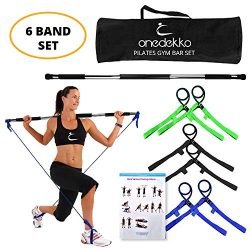 onedekko Portable Pilates Bar Gym Stick Yoga Exercise Bar Pilates Trainer Fitness Rod with Foot Loop