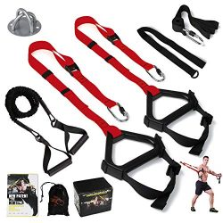 MOULYAN Bodyweight Resistance Training Straps Complete Home Gym Fitness Trainer kit for Full-Bod ...