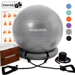 RGGD&RGGL Yoga Ball Chair, Exercise Ball with Leak-Proof Design, Stability Ring&2 Adjust ...