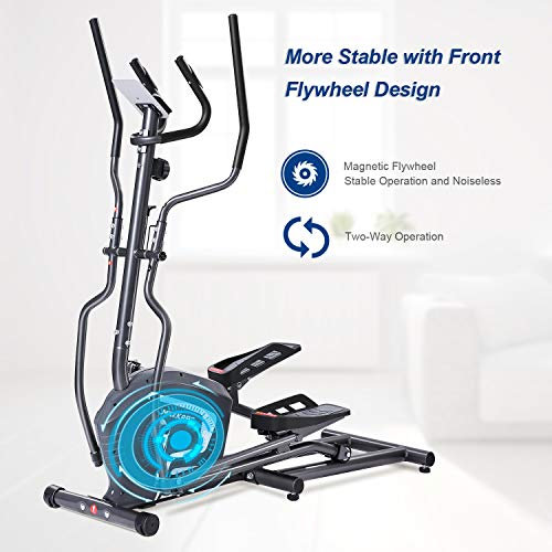 MaxKare Magnetic Elliptical Machine Elliptical Trainer Heavy Duty Smooth Quiet Driven  for Home  ...