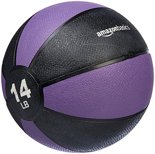 AmazonBasics Workout Fitness Exercise Weighted Medicine Ball – 14 Pounds, Purple and Black