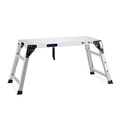 Adjustable Work Platform with 330 lb Duty Rating, Portable Folding Aluminum Step Ladder, Ideal f ...