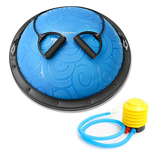 TECHMOO Half Balance Ball Trainer 23 Inch Yoga Exercise Ball Resistance Bands Pump Training Equi ...