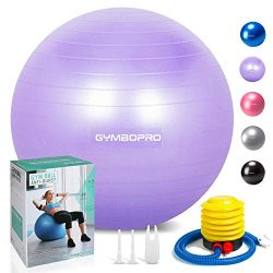 GYMBOPRO Exercise Ball (55-75cm) Heavy Duty Stability Ball Chair Anti Burst Birthing Ball with Q ...