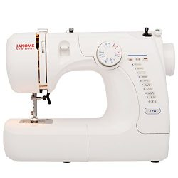 Janome Basic Easy-to-Use 128 Sewing Machine with Interior Metal Frame, Front Loading Bobbin, Com ...