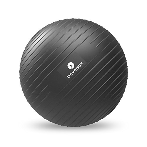DEVEBOR Exercise Ball for Yoga Balance Fitness Stability Workout Guide, Professional Grade Equip ...