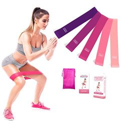 Exercise Bands for Legs and Butt Resistance Bands Set of 5 with Instruction Guide Carry Bag Work ...