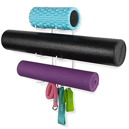 Wallniture Guru Wall Mount Yoga Mat Foam Roller and Towel Rack with 3 Hooks for Hanging Yoga Str ...