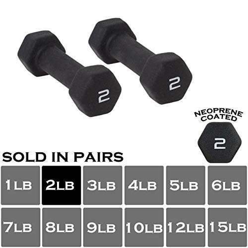 WF Athletic Supply Black Neoprene Dumbbell Set, Non-Slip, Hex Shape, Free Weights Set for Muscle ...