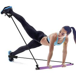 Mirooyu Portable Pilates Bar, Portable Pilates Bar Kit with Resistance Band, Adjustable Toning Y ...