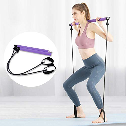 Pseudois Portable Pilates Resistance Band Yoga Exercise Pilates Bar with Foot Loop for Total Bod ...
