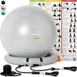 Exercise Ball Chair – 55cm / 65cm / 75cm Yoga Fitness Pilates Ball & Stability Base fo ...