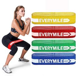 EveryMile Resistance Bands for Legs and Butt, Fabric Exercise Bands Set Non-Slip Booty Bands, Hi ...