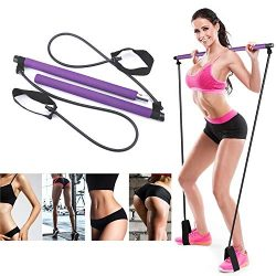 Artoflifer Exercise Resistance Band Yoga Pilates Bar Kit Portable Pilates Stick Muscle Toning Ba ...