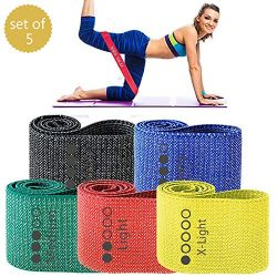 WODSKAI Fabric Resistance Loop Exercise Bands Set, Non Slip Booty Workout Bands for Legs Butt Sq ...